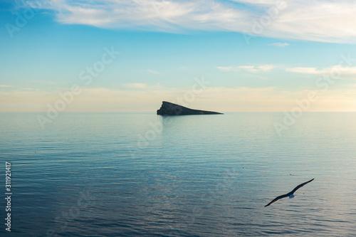 Benidorm island, Isla de Benidorm in Mediterranean sea, Benidorm, Alicante, Spain