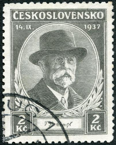 CZECHOSLOVAKIA - 1937: shows portrait of President Thomas Garrigue Masaryk (1850 Canvas-taulu