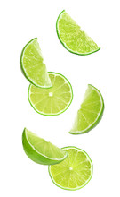 Collage Of Falling Limes On Wh...