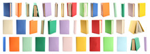 Set Of Colorful Books On White...