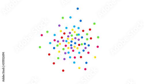 Fototapeta Orange Shine Carnaval Postcard. Effect Shine Card. Happy Wallpaper. Rainbow Dot FallingFestive Background. Splash FallingFestive Design. obraz na płótnie