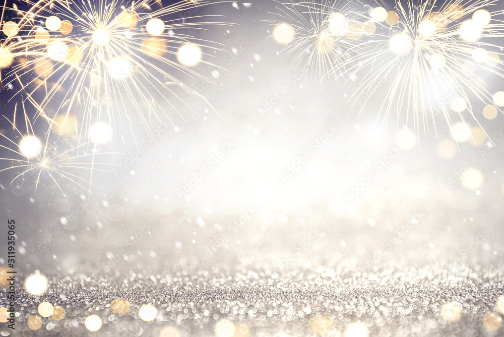 Fotografie, Obraz Gold and silver Fireworks and bokeh in New Year eve and copy space