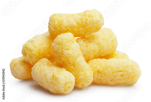 Photo  Close-up of delicious corn sticks, isolated on white background