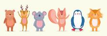 Set Of Cute Animals Wildlife C...