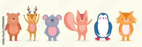 set of cute animals wildlife cartoon characters