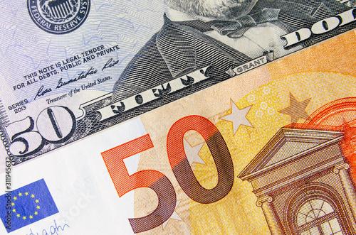 Fotomural  50 euros and 50 American dollars