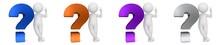 Question Mark Blue Orange Purple Silver Interrogation Point 3d Rendering