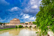 Castel Sant'Angelo located on the Tiber River in Rome, Italy.