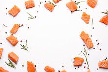 Pieces Of Fresh Raw Salmon And...