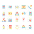 Valentines and love icon and symbol set in flat design