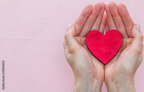 Fototapeta man holds a red heart in his palms on a pink background obraz na płótnie