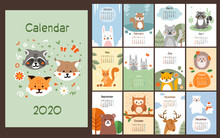 2020 Calendar Design With Cute...