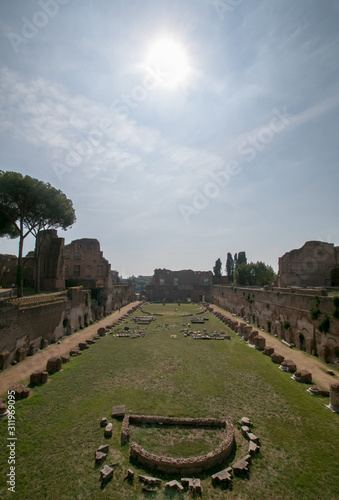 Fototapeta The Palatine Stadium the Stadium of Domitian on the Palatine Hill, Rome, Italy