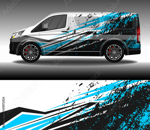 Canvastavla  Car wrap decal livery design vector, rally race car vehicle sticker and tinting