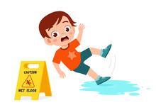 Shock Cute Kid Boy Trip Over Wet Floor