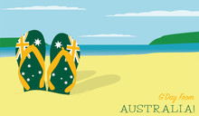 Thongs In The Sand Australia Day Scene In Vector Format.