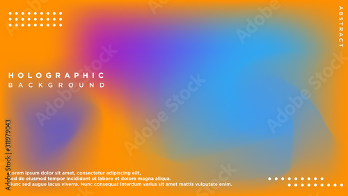 Fototapeta Holographic Vector Background Template for presentation. Cover to web design. Abstract colorful gradient. obraz na płótnie