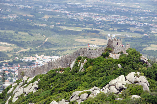 Aerial view on the hilltop medieval moorish castle (Castle of the Moors) in Sint Fototapet