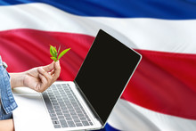 Costa Rica Modern Agriculture Concept. Farmers Holding Laptop, Check Tea On National Flag Background. Ecology Theme With Copy Space.
