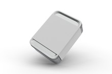 Blank Tin Box With Sleeve Paper Label For Branding, 3d Render Illustration.