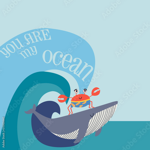 Obraz Whale and crab cartoon vector with slogan. Cartoon poster with cute sea animal - fototapety do salonu