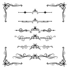 Text Separator Decoratice Divider Book Typography Ornament Design Elements Vintage Dividing Shapes Border Illustration