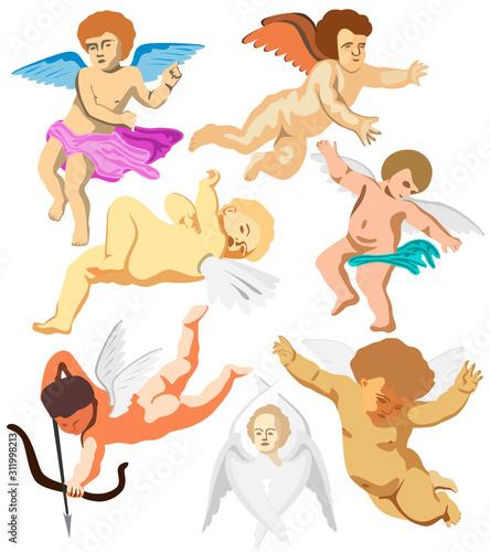 Set of seven angels, flying cherubim and Seraphim Wallpaper Mural