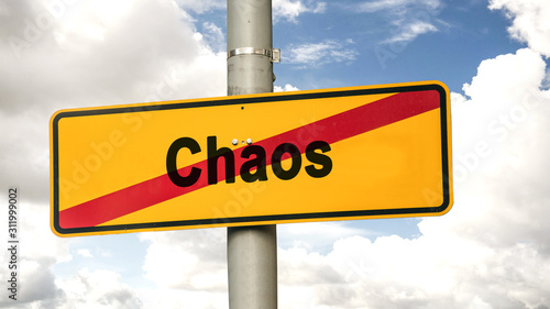 Street Sign to Tidiness versus Chaos Fototapet