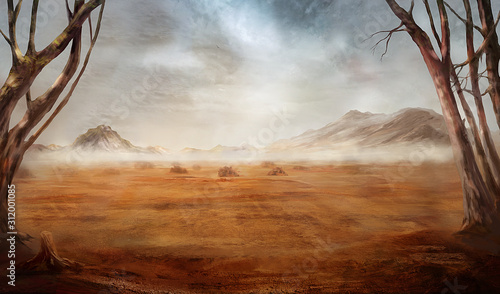 Fantasy desert landscape with hills and clouds of dust фототапет