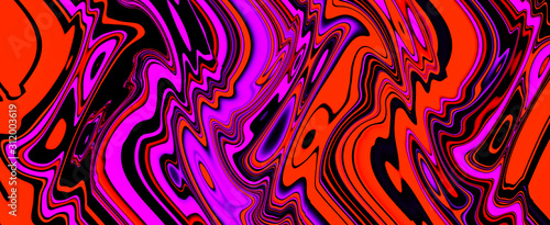 Multicolor glowing twisted lines on black background. Abstract psychedelic 3D illustration