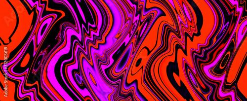 Cuadros en Lienzo Multicolor glowing twisted lines on black background