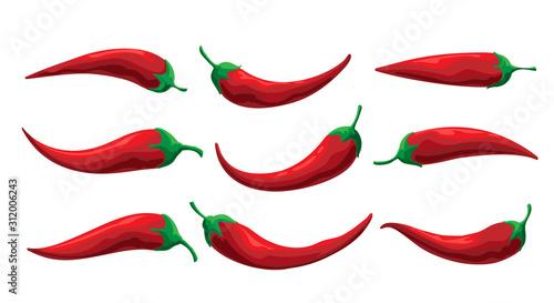 Cuadros en Lienzo  Set of Cartoon Chilly Pepper on White Backround