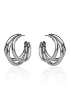 Subject Shot Of A Pair Of Steel Stud Earrings Isolated On The White Background With Reflexion. Each Earring Is Made In The Form Of A Triple Unlocked Hoop.