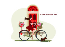 March 8, International Women's Day, Girl On A Bicycle With Flowers And Dog