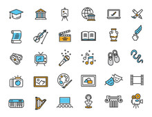 Set Of Linear Culture Icons. A...