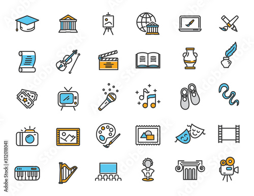 Set of linear culture icons. Art icons in simple design. Vector illustration Fotomurales