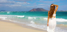 Panoramic Banner View Of Young Beautiful Woman On Paradise Tropical Beach Of Fuerteventura, Canary Islands