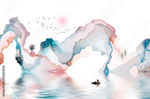 streszczenie-czarno-biale-artystyczne-tlo-linii-atramentu-dekoracji-krajobrazu-malarstwa