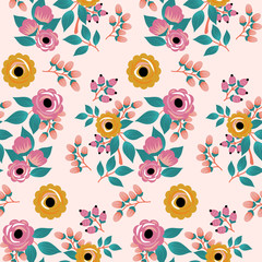yellow and pink boho roses, seamless pattern