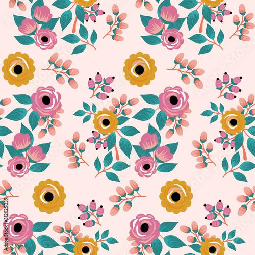 yellow and pink boho roses, seamless pattern