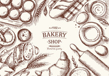 Bakery Background. Linear Graphic. Bread And Pastry Collection. Engraved Top View Illustration.