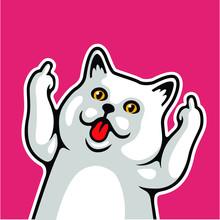 Funny White Cat Sticks Tongue Out, Show Middle Finger Vector Illustration - Vector