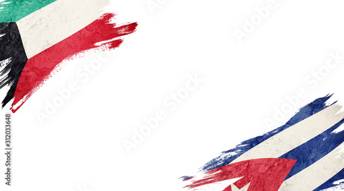 Flags of Kuwait and Cuba on White Background Wallpaper Mural
