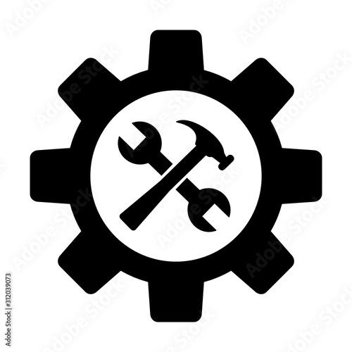 Obraz opcje ikona klucz i młotek w kole zębatym - fototapety do salonu