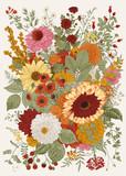 Jesienny bukiet. Kwiaty, jagody, liście. Vintage ilustracji wektorowych. - 312044280