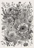 Jesienny bukiet. Kwiaty, jagody, liście. Vintage ilustracji wektorowych. Czarny i biały - 312044288