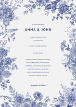 Vintage Floral Illustration. Wedding Invitation. Autumn. Blue And White