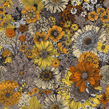 Seamless Floral Pattern 70s. Autumn Flowers And Butterflies. Gray And Orange.