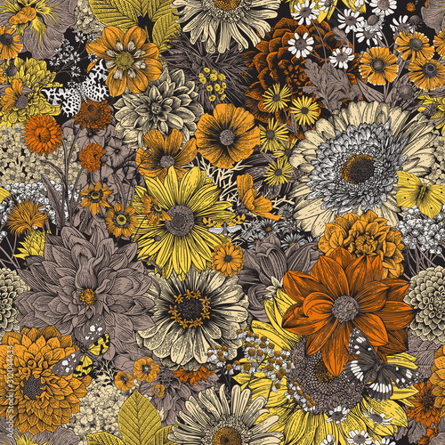 Papel de parede Seamless floral pattern 70s