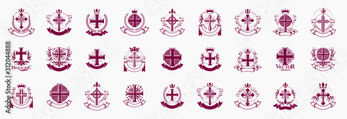 Fotografia Crosses secrets emblems vector emblems big set, Christian religion heraldic design elements collection, classic style heraldry symbols, antique designs